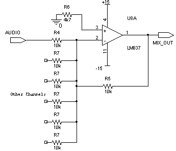 six channel mixer and amplifier circuit diagram