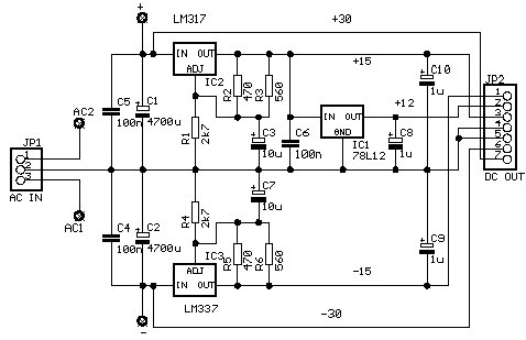 circuit diagram  the power supply must produce the following voltages: